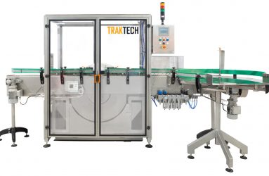 Rotary rinser for plastic, can or glass containers, complete view, designed by Traktech SL