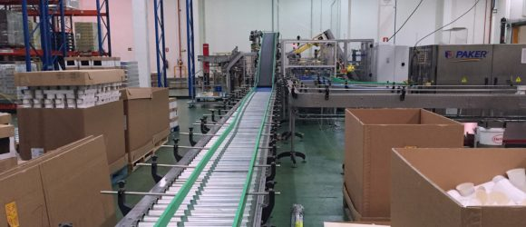 Roller conveyor for boxes image in production line