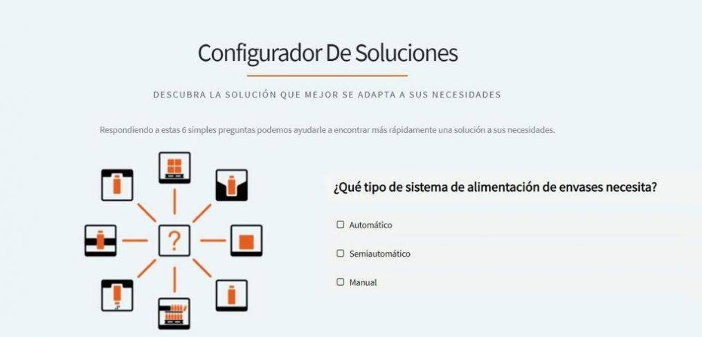 Página inicial del Configurador de soluciones de Traktech