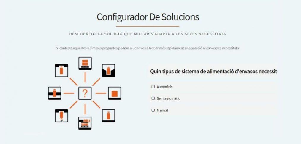 57/5000 Pàgina inicial de l'Configurador de solucions de Traktech