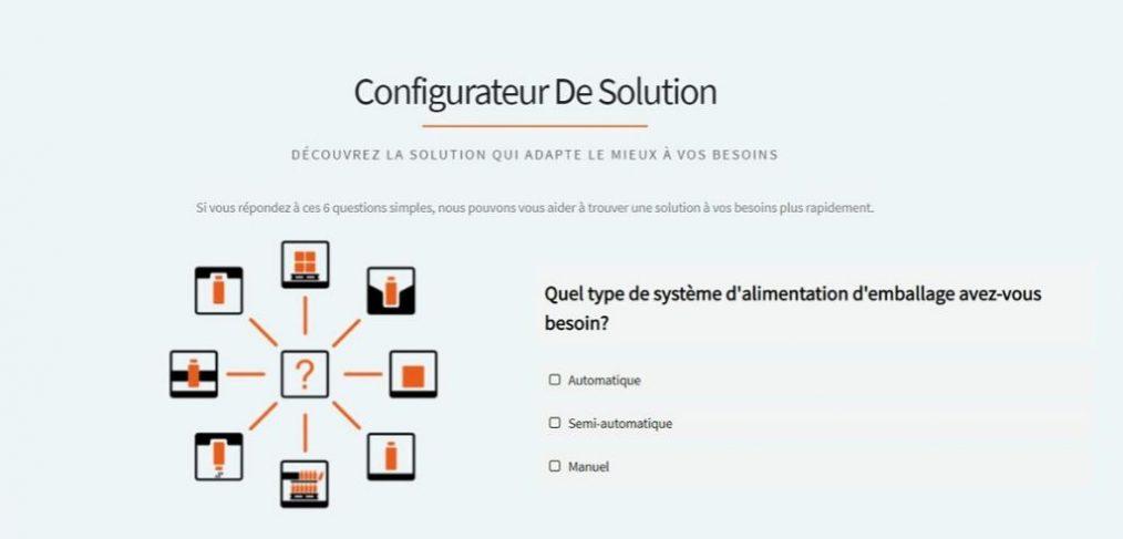 Page d'accueil du configurateur de solutions Traktech